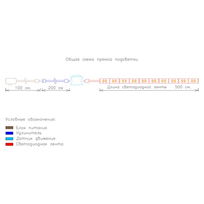 Схема прямой подсветки с датчиком движения фото