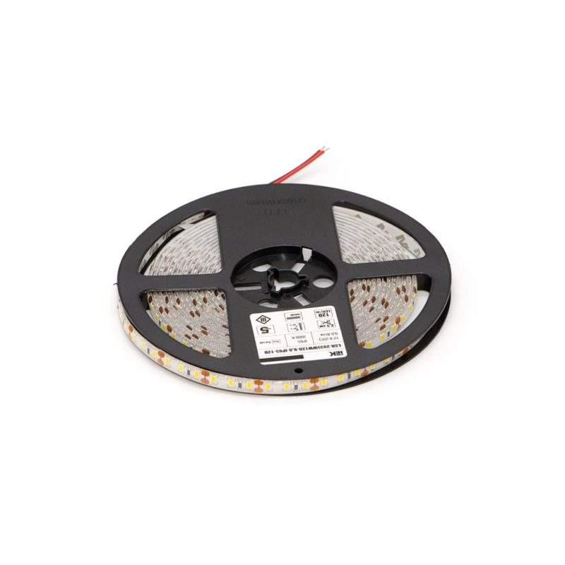 Светодиодная лента 12 V (вольт): Lux (яркая), теплый белый, SMD 2835, 5 метров, 9,6 W (вт), LED 120 шт/м, IP65 вид фото