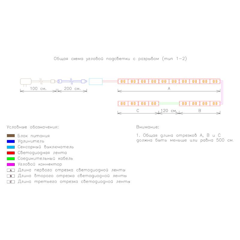 Общая схема угловой подсветки с разрывом с сенсорным выключателем тип 1-2 фото