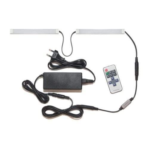 подсветка для прямой кухни с разрывом с пультом лента Lux в профиле фото