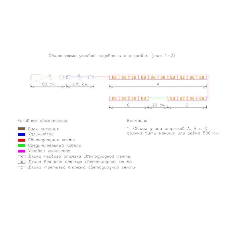 Общая схема угловой подсветки с разрывом с беспроводным сенсорным выключателем 1-2