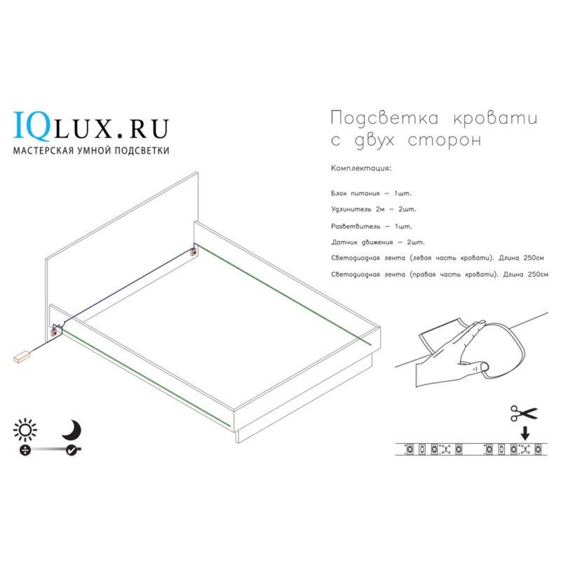 Подсветка для кровати с ИК датчиком движения (две стороны): лента Lux фото
