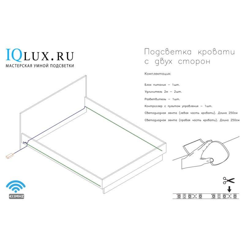 Подсветка для кровати с RF пультом управления (две стороны): лента Lux фото