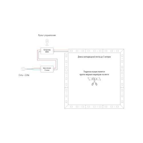 Схема подсветки для потолка с пультом управления – 5 метров фото